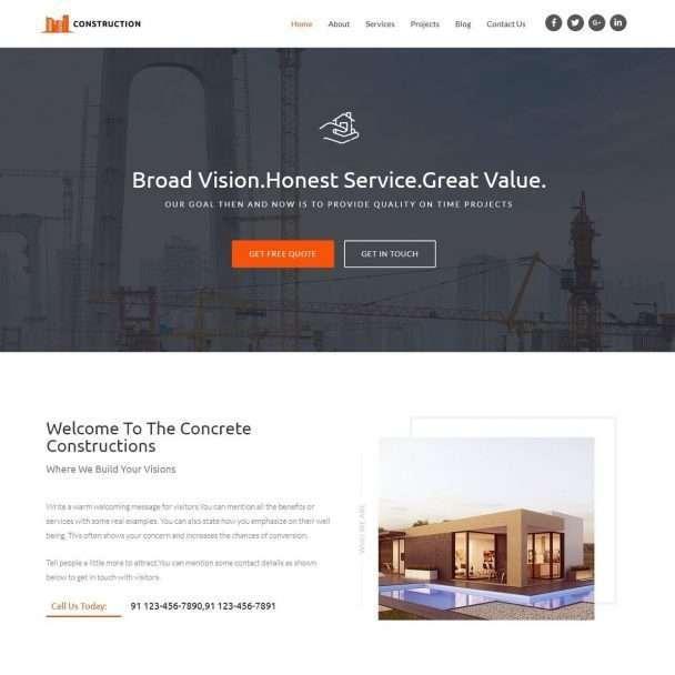 Template Web Construction